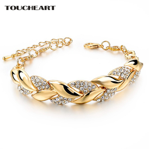 TOUCHEART Braided Gold color Leaf Bracelets & Bangles With Stones Luxury Crystal Bracelets For Women Wedding Jewelry Sbr140296(China)