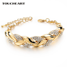 TOUCHEART Braided Gold color Leaf Bracelets Bangles With Stones Luxury Crystal Bracelets For Women Wedding Jewelry