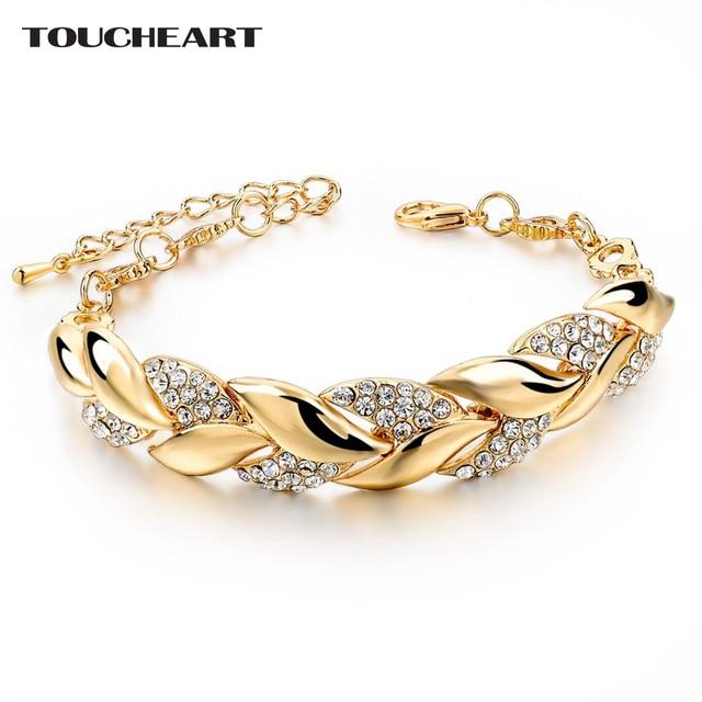 TOUCHEART Braided Vàng màu Lá Vòng Tay & Bangles Với Stones Luxury Pha Lê Vòng Tay Cho Phụ Nữ Cưới Trang Sức Sbr140296