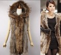 Long Best Spring Winter Female Genuine Natural Knitted Raccoon Fur Rabbit Fur Vest For Women Real Furs Jacket Large Size 6XL