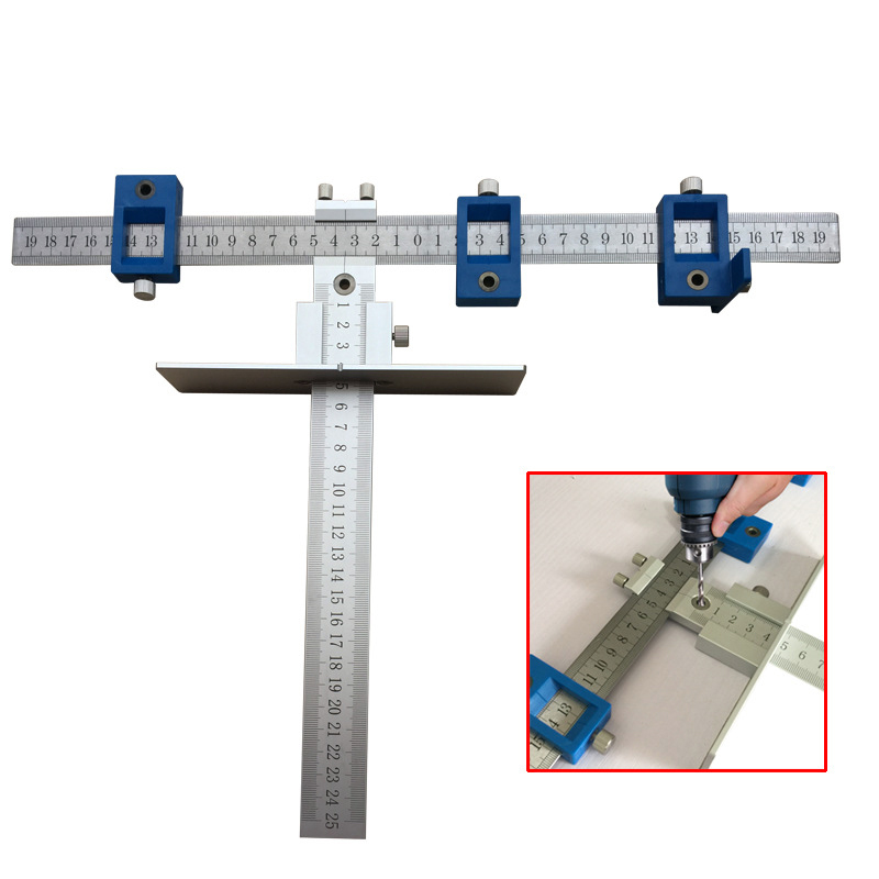 Woodworking Tool Aluminum Alloy Pocket Hole Jig Set Punch Locator Drill Guide Sleeve For Drawer Cabinet Hardware Jig
