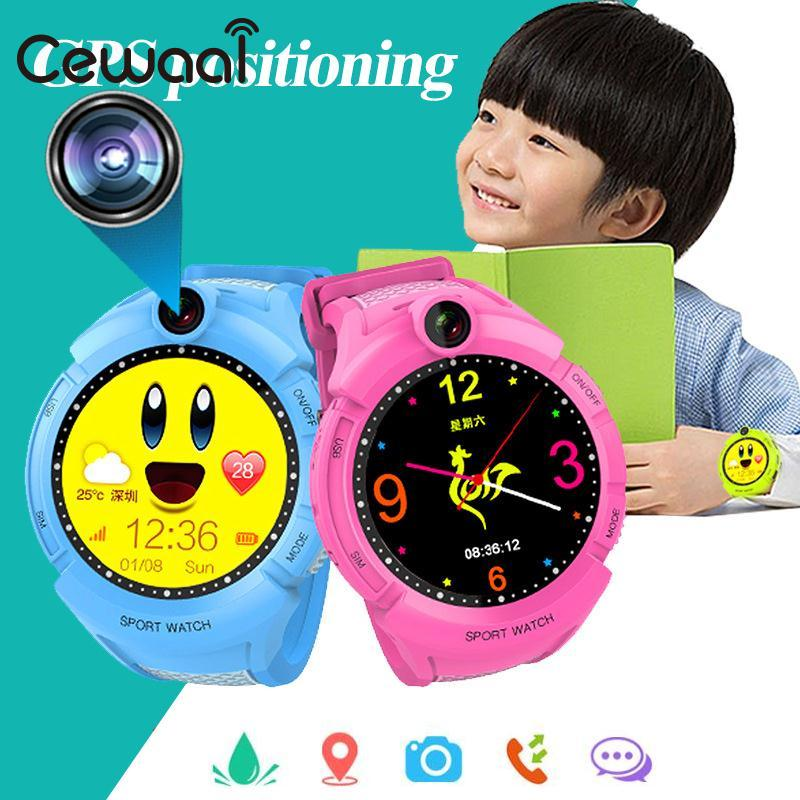 Cewaal OLED Display Childrens GPS Positioning SOS Anti Lost Location Tracker Smart Watch Support SIM Camera For Android iOS