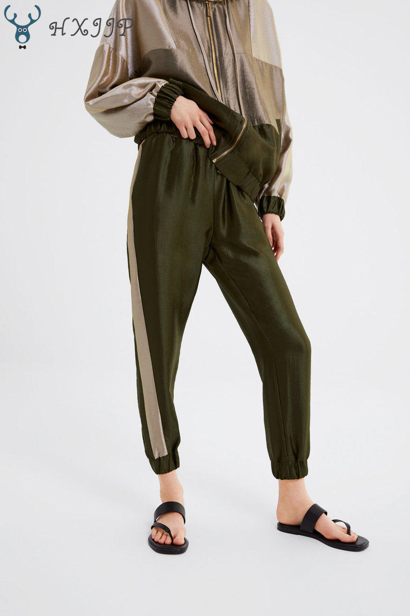 HXJJP2019 Spring and Summer New Jigsaw Jogging Pants Women's Fashion Military Green Trousers Price $19.21