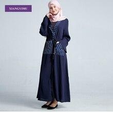 abaya  MuslimAdult fashion Striped ramadan dress caftan islamic clothing new marocain bangladesh