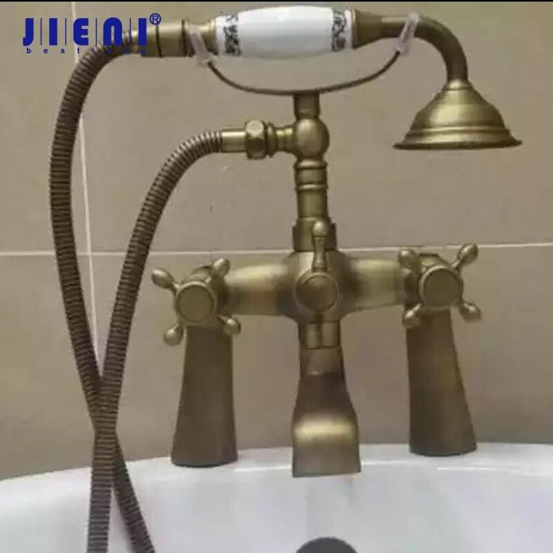 Rainfall & Stream Spout Wall Mounted Tap Antique Brass Rain Shower Head Faucet Shower Set Hot & Cold Mixer