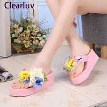Womens fashion slippers wedge slip sandals beach Sandel handmade flowers platform shoes 5cm  C0601