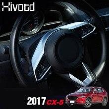 Hivotd For Mazda CX-5 CX5 Chrome Steering Wheel Cover Button Panel Trim Badge Bezel Frame Interior Mouldings accessories 2018 auto steering wheel cover interior decoration trim for mazda cx 3 2017 2018 abs chrome auto accessories 2pcs set