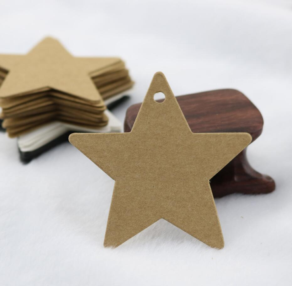 100Pcs Star Kraft Paper Label Wedding Christmas Halloween Party Favor Price Gift Card Luggage Tags White Black Brown 3Colors