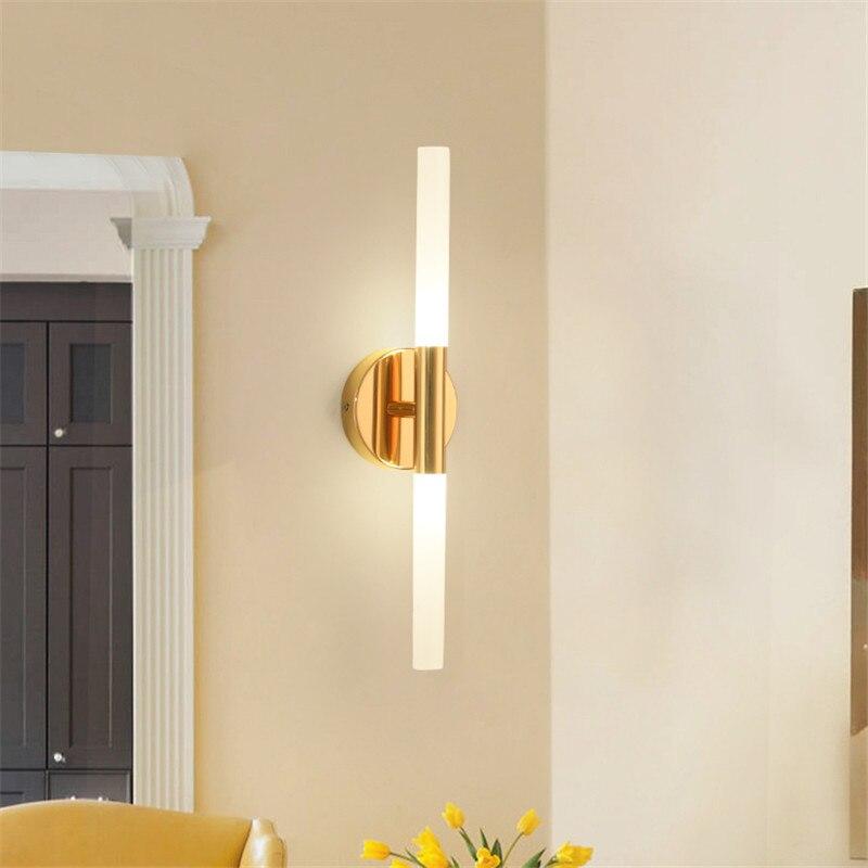 Lámpara de pared Led moderna, espejo de dormitorio, faros de iluminación dorada, lámpara de cabecera, luz de pared de baño, lámpara de decoración Simple No40