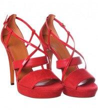 2015 echt Bilder Plattform Für Frauen Sandalen Rot Wildleder Chaussure Femme Kreuz gebunden Knoechelriemchen Dünne High Heels Sommer damen Schuhe