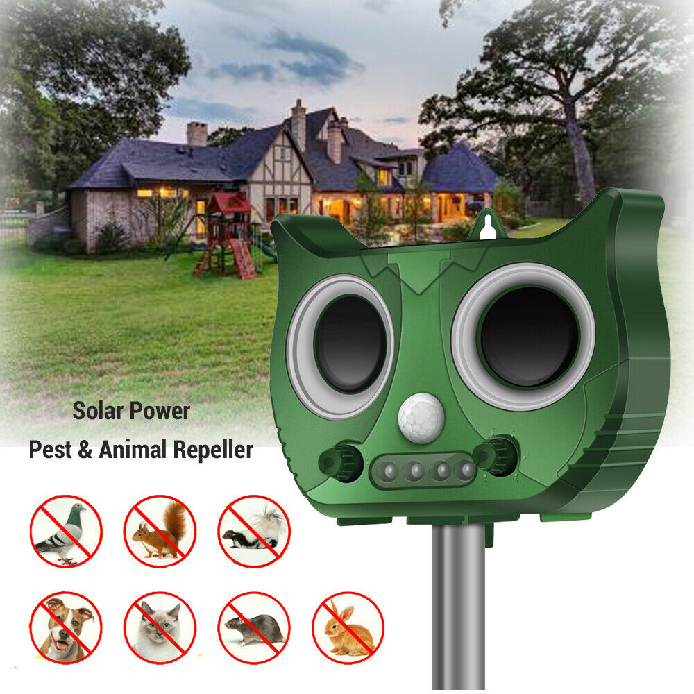 Outdoor Solar Pest Animal Repeller LED PIR Motion Bird Cat Rat Dog Repellent