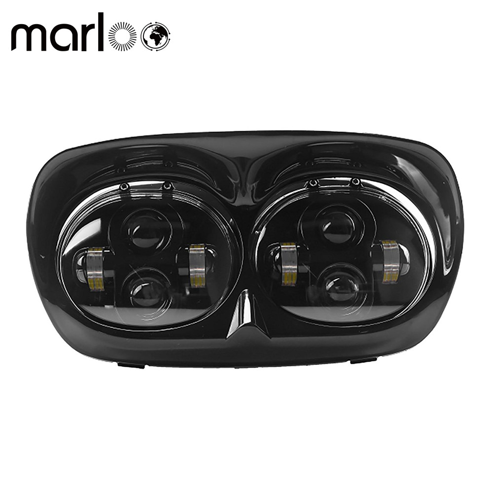 Marloo Dual 5.75 LED Headlight Projector Daymaker Lamp For Harley Davidson Accessories H4 Harley Road Glide 1998-2013 04 09 7 inch motocycle projector daymaker dual led headlight for harley davidson road glide 2004 2013