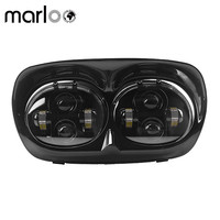 Marloo Dual 5.75 LED Headlight Projector Daymaker Lamp For Harley Davidson Accessories H4 Harley Road Glide 1998 2013 04 09
