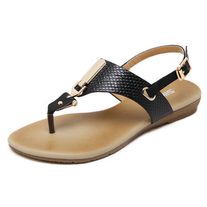 Summer Women Wedge Sandals Shoes Woman Metal Decoration Buckle Flip Flops Flat with Casual Beach Sandals Plus Size 35-41 phyanic 2017 summer new women sandals with chain women buckle strap flat platform summer casual shoes woman phy3413