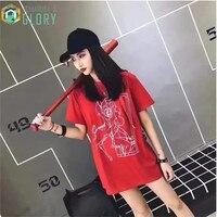 Tshirt Women 2017 Summer Women T Shirt Rock Kawaii Harajuku Deer T Shirt Red Black One