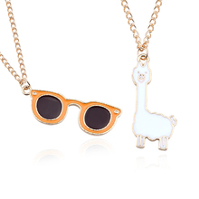 Lovely Cartoon Grass Mud Horse Glasses Pendant Necklaces Fashion Gold Enamel Alpaca Animal Necklace Jewelry For Women Girls Gift