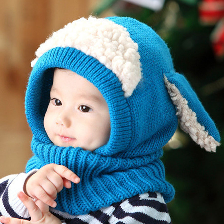 2018 New Hat Scarf with Ears Kids Siamese Hat Scarf Set for Children Winter Girls Hat Beanie Knitted Wrap for Boys 1-4Years Old