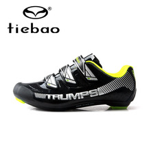 Tiebao New Design Men Road Bike Bicycle Shoes Anti-slip Breathable Cycling Shoes Hook&Loop Self-locking Shoes Zapatos bicicleta
