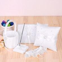 5 unids/set accesorios para decoración de boda doble corazón satén flor niña cesta 7x7 anillo portador almohada libro de invitados lapicero