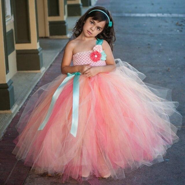 5eb717b741b30b € 20.3 19% de réduction|Fille fée fleur fille robe de mariage fête  princesse tutu robes corail Champagne bébé filles vêtements enfant en bas  ...