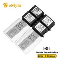 RF AC 220V 1000W One Transmitter 4X 1 Channel Relays Smart Wireless Remote Control Switch White
