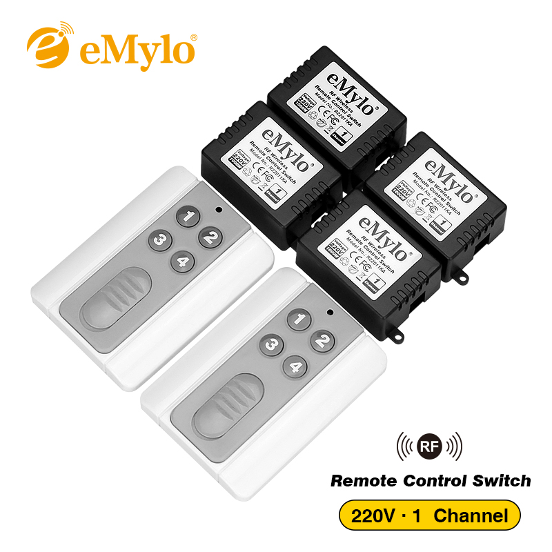 eMylo AC220V 1000W 4-Buttons Transmitter 4X 1 Channel Relays Smart RF Wireless Remote Control Light Switch 433Mhz emylo 4x 220v 1000w 1channel 433mhz wireless rf realy remote control switch receiver with transmitter