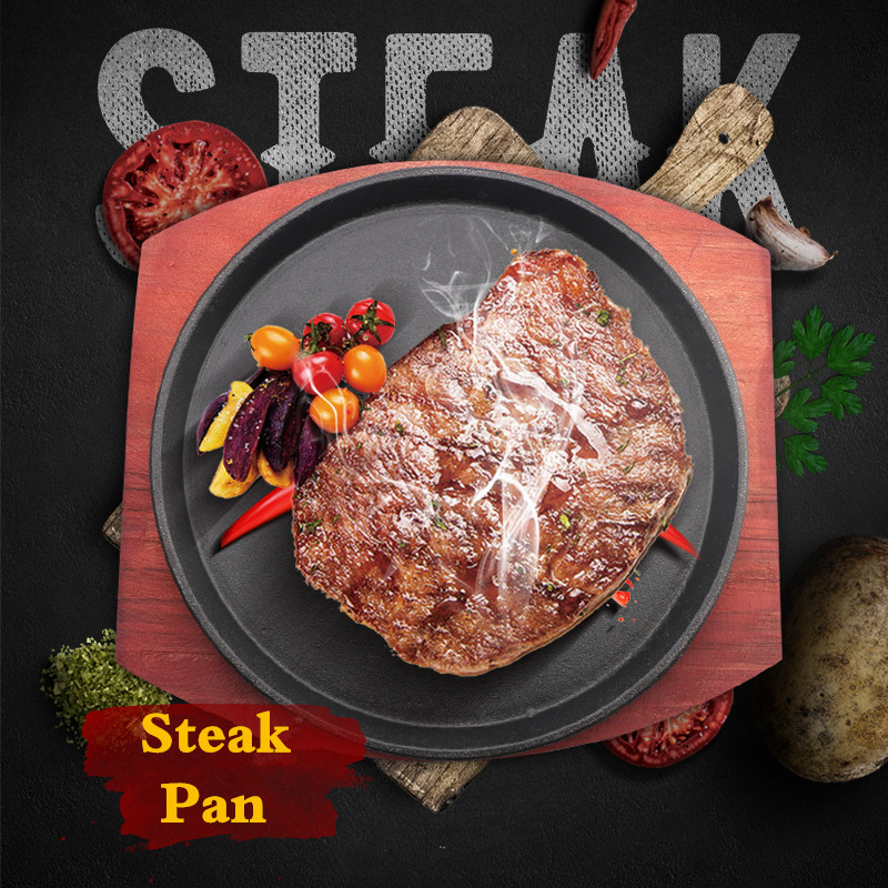 Cast Iron Roasting Steak Pan Non Stick Roast Enamel Fried Pot Plate Frying Pan With Wooden Base Holder Cookware grill baking pan