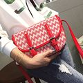 YESIKIMI 2017 New Fashion Women Saddle Bags Wave Printing Crossbody Bag Quality PU Leather Black Red Color 23CM Size Gift