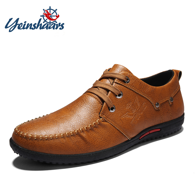 YEINSHAARS Spring Autumn Loafers Men Casual Shoes Boat Moccasins Leather Flats Male Luxury Lace-up Driving Footwear SoftYEINSHAARS Spring Autumn Loafers Men Casual Shoes Boat Moccasins Leather Flats Male Luxury Lace-up Driving Footwear Soft