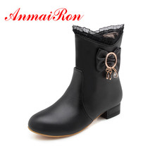 лучшая цена ANMAIRON Brand Women Ankle boots Low Heels Zipper Round Toe Winter Causal Ladies Shoes Black White Fashion boots size34-43 CR932