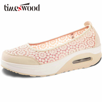 TIMESWOOD Women Air Shoes Wedge Flats Harajuku Shoes Lace up Mocassim Feminino Flower 6 Colors Ladies Hollow Relaxation Zapatos