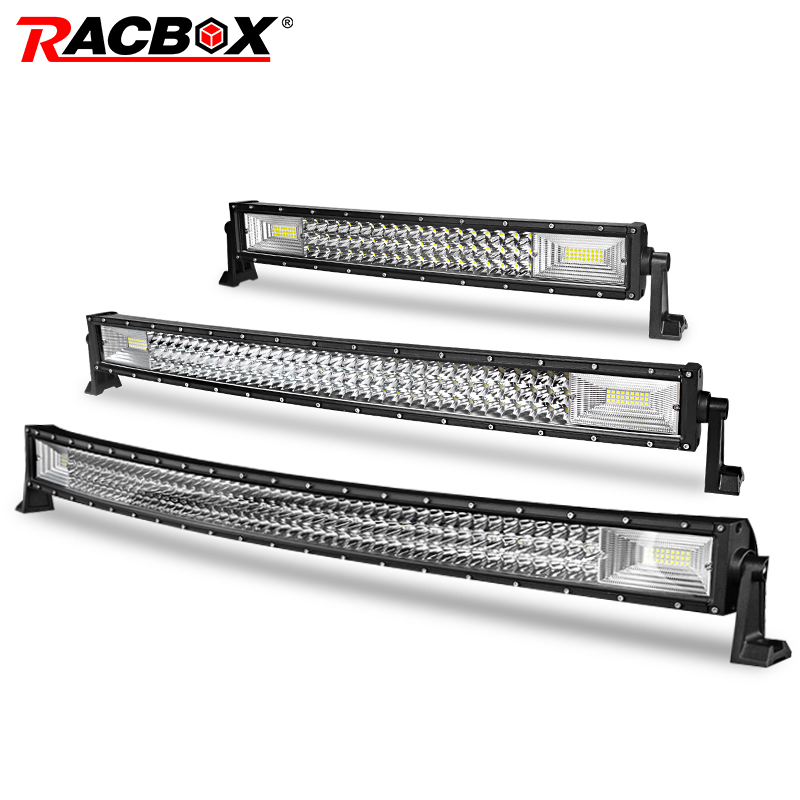 RACBOX 42 32 22 Inch Curved Led Work Light For Jeep LADA 4x4 Truck SUV ATV UTV UAZ Trailer Roof Offroad Boat 12V 24V Car Refit