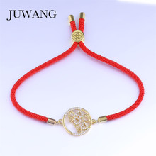 JUWANG Classic Round Heart Red/Black Rope Bracelet for Woman Girl Red String CZ Fashion Jewelry Friendship Gift