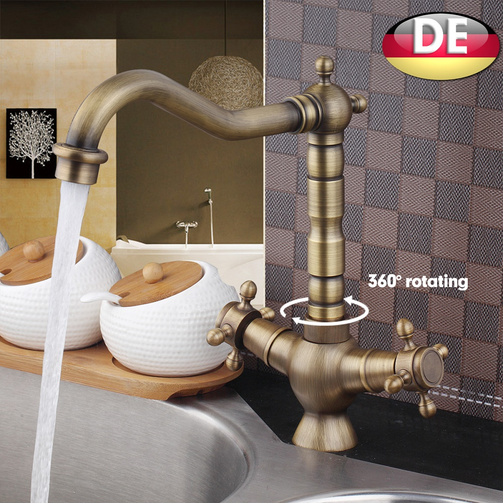 Antique Brass Bathroom Faucet Vesssel Sink Basin faucet Mixer Tap Dual Handle Lavatory Faucets Cold Hot Water taps antique brass dual cross handles swivel kitchen bathroom sink basin faucet mixer taps anf103