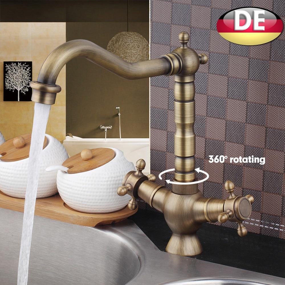 Antique Brass Bathroom Faucet Vesssel Sink Basin faucet Mixer Tap Dual Handle Lavatory Faucets Cold Hot Water taps antique brass dual cross handles swivel kitchen bathroom sink basin faucet mixer taps anf003