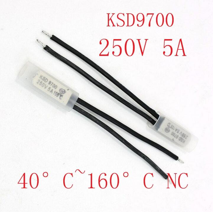 2 шт., биметаллический дисковый Термостат KSD9700, 250 В, 5 А, термопротектор, 40 ~ 135 градусов по Цельсию