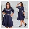 5XL 6XL Большой Размер 2017 Весна Dress Big Size Printed Dress зеленый Синий Красный Платья Плюс Размер Женщин Одежда С Поясом Vestidos