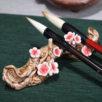 Originality Ceramic Pen holder Ruyao Plum blossom pen shelf pen hanging Paperweight for Art painting Calligraphy Paints Supplies
