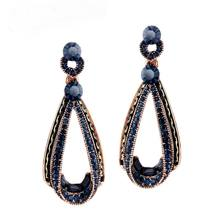 XIAO YOUNG Vintage Dark Blue Rhinestone Long Earrings 2017 New Party Elegant Water Drop Design Earrings For Women Gift Party