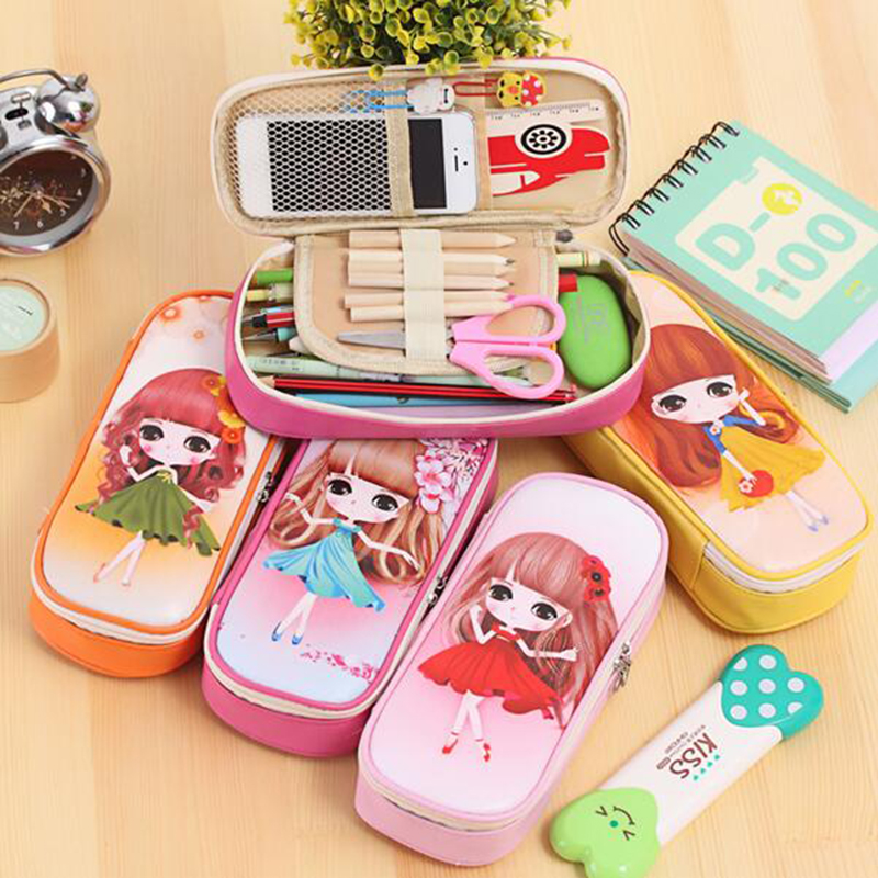 kawaii Lovely Girls School Pencil Case Large Capacity PU Leathe Pencil Bag Cases For kids Students Pen Sack Stationery Supplies 2017 high quality school supplies stationary pu leather pencil case students kawaii soft creative milk bag large bags