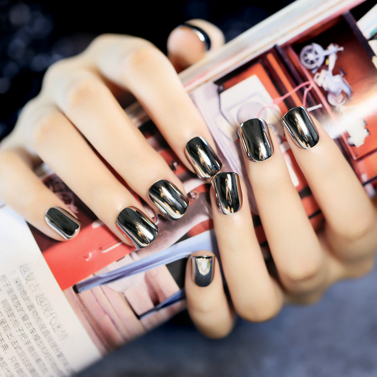 New 24 PCS Oval Full Solid Short Metal Design Artificial Nails with ...