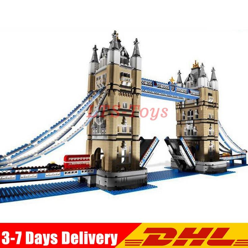 DHL Lepin 17004 4295Pcs Creator Expert London Tower Bridge Model Building Blocks Bricks Toys Gift Compatible Legoed 10214 in stock new lepin 17004 city street series london bridge model building kits assembling brick toys compatible 10214