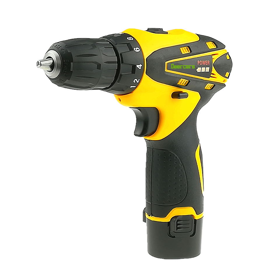12 Volts Cordless Screwdriver Drill Mini Rechargeable Electric Drill Screw Driver One Lithium Battery Power Tools Carton