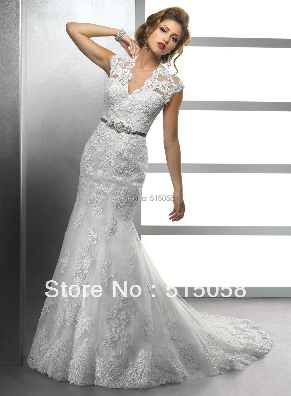 Buy elegant lace sheath cap sleeves v for Sheath v neck wedding dress