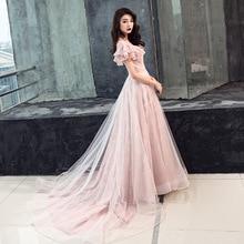 Китайское Восточное Длинное Свадебное женское сексуальное розовое вечернее платье Ципао с круглым вырезом Элегантные платья принцессы современные Ципао