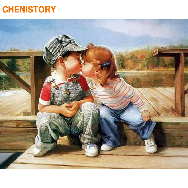 CHENISTORY Happiness Childhood DIY Painting By Numbers HandPainted Oil Painting On Canvas Wall Art Picture 40*50 Home Decoration