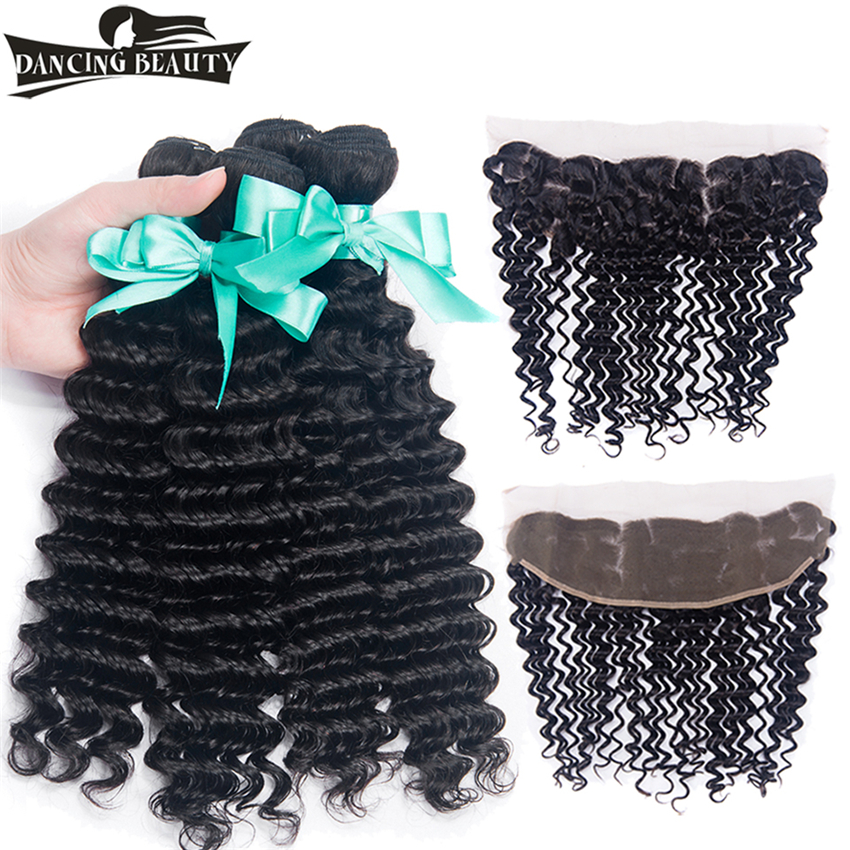 DANCING BEAUTY Pre-Colored Deep Wave With Frontal Non Remy Peruvian Human Hair Weave 4 Bundles With Lace Frontal Closure
