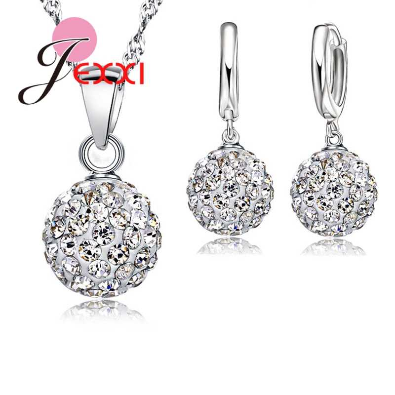 New 10 Color  Jewelry Sets 925 Sterling Silver Austrian Crystal Pave Disco Ball Lever Back Earring Pendant Necklace Woman
