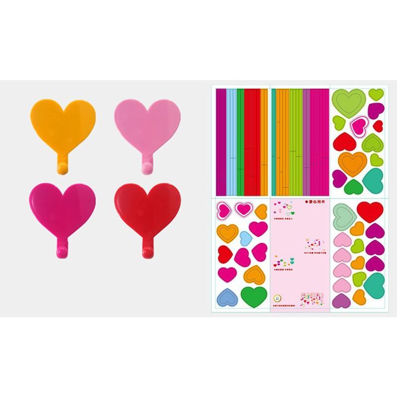 Colorful Love Heart Adhesive Hooks Robe Hooks Wall Hooks Hanger for Home Kitchen Holder DIY Kids Children Rooms Home Decoration (3)