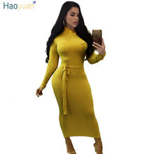 08554c4132f HAOYUAN Tricoté Robe Pull Femme Manches Longues Automne Hiver Robes Noir  Jaune Vestidos Occasionnels Sexy Mince Moulante Robe Ma.
